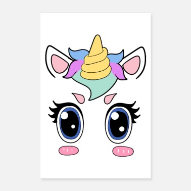 Geek Unicorn Face Magical Girlfriend Gift Girl - Plakat o wymiarach 60x90 cm
