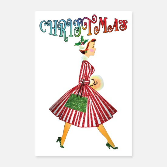 Gift Idea Posters - Christmas Lady Retro - Posters white
