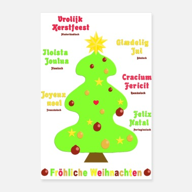 Taal Merry Christmas 1 in 7 talen - Poster 60x90 cm