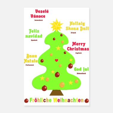 Spanish Merry Christmas 2 in 7 languages - Poster 24 x 35 (60x90 cm)