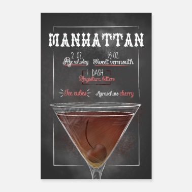 Bar Manhattan Cocktail Bar Cocktails Cadeaux - Poster 60 x 90 cm