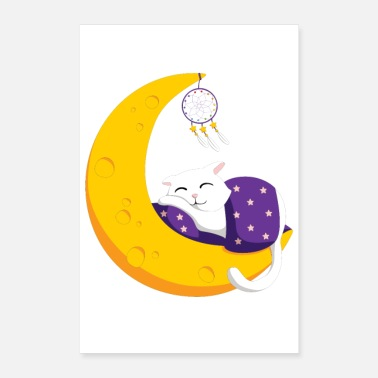 Swag Chat dormant lune - Poster 60 x 90 cm