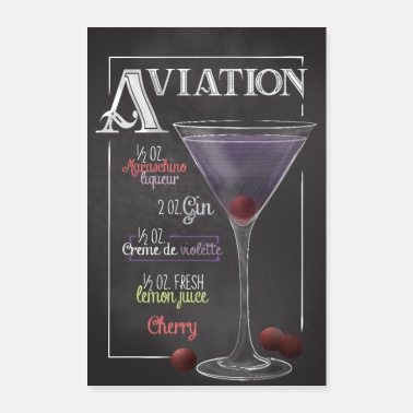Bar Pub Aviation Cocktail Bar Recipe Gift - Poster 24 x 35 (60x90 cm)