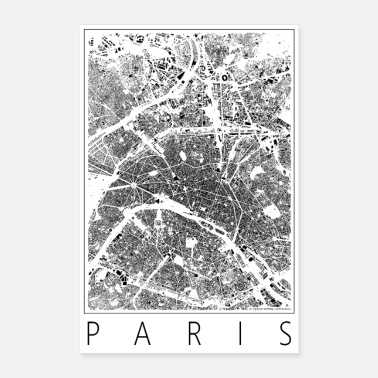 Map Black Plan Paris Poster Figureground Diagram - Poster 24 x 35 (60x90 cm)