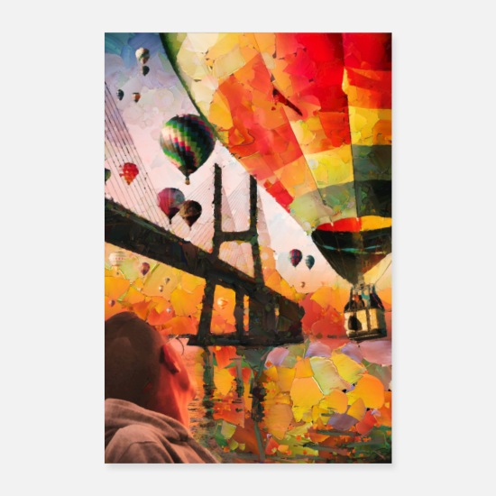 Digital Posters - Hot air balloons over bridge and bay - Posters white