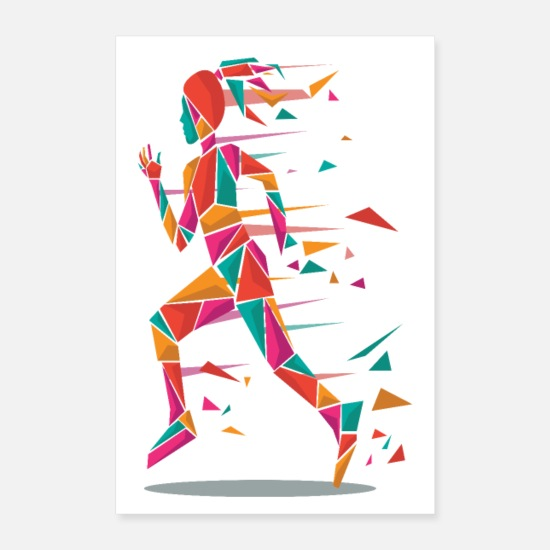 Course À Pied Posters - Polygones Jogger - Posters blanc
