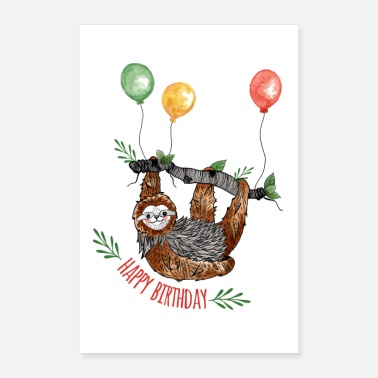 Birthday Happy Birthday Faultier Poster - Poster