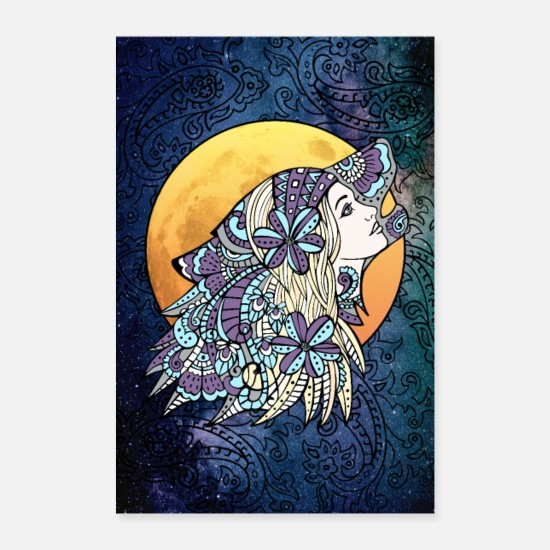Starry Sky Posters - Mystic Wolf Woman Wall Art - Posters white