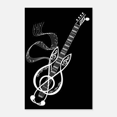 Rock N Roll poster notes musiques guitare clef de sol festival - Poster