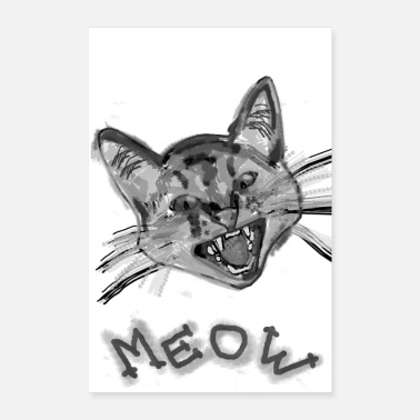 Chat Cat meow gray | cat meow gray | chat miaou gris - Poster