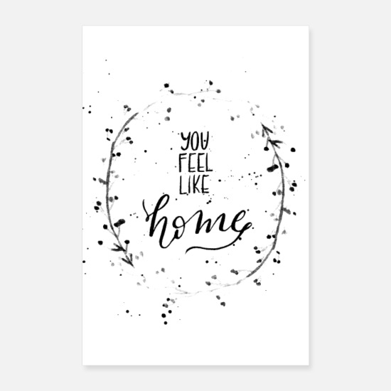 Familie Poster - You feel like home - Handlettering - Poster Weiß