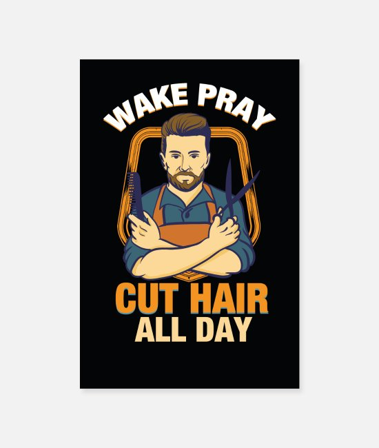Think Posters - Barber barber hairdressers faith hairstyle beard - Posters white