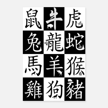 Chinese Characters Chinese zodiac signs - Poster