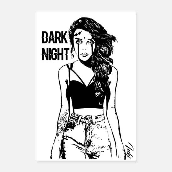 Femme Posters - DARK NIGHT - Posters blanc