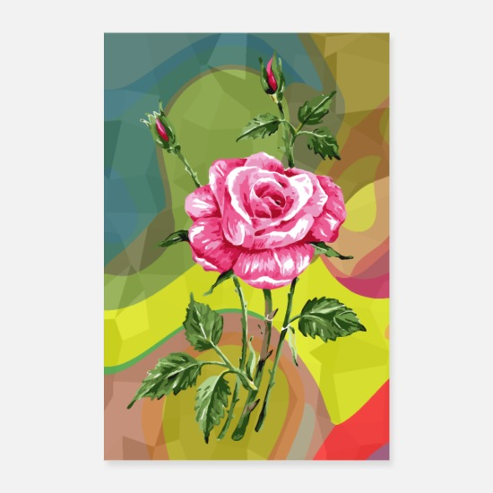 Blomster Posters - rose - Posters hvid
