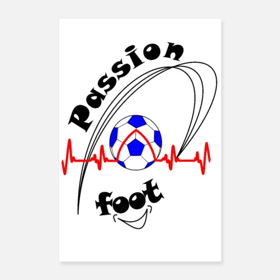 Soccer Posters - poster passion foot fond clair afficher love foot - Posters blanc