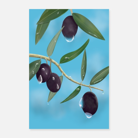 Himmel Poster - Olives with water drops POSTER - Poster Weiß