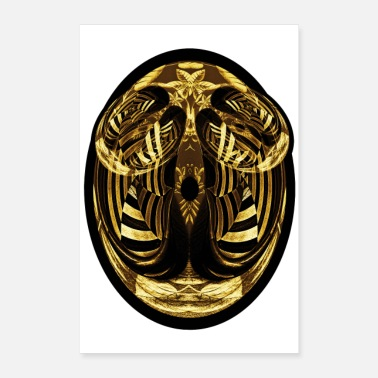 Oval Oval face abstract gold and black - Poster