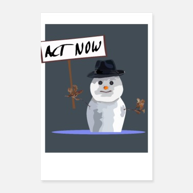 Melt Snowman in the Puddle - Snowman is melting - Poster