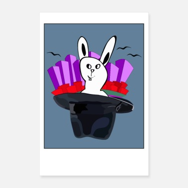 Hase The white bunny out of the hat - weißer Hase - Poster