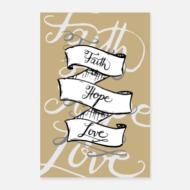 Hoffnung faith love hope Banner Poster sand beige - Poster