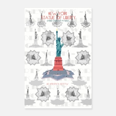 London Famous Buildings Pattern Poster Statue of Liberty - Poster