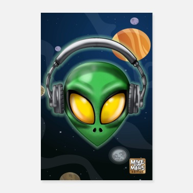 Ufo Alien with Headphones - Poster