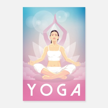 Yoga Woman doing yoga meditation yoga poster - Poster