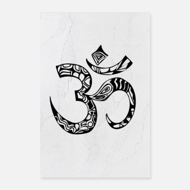 Drawing Painting Symbol meditate ohm Abstract vector illustration - Poster