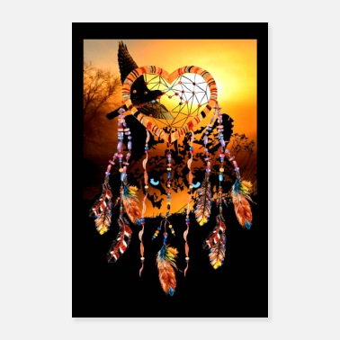 Mobile Mystic Wolf Dreamcatcher Hawk for poster and mobile phone - Poster