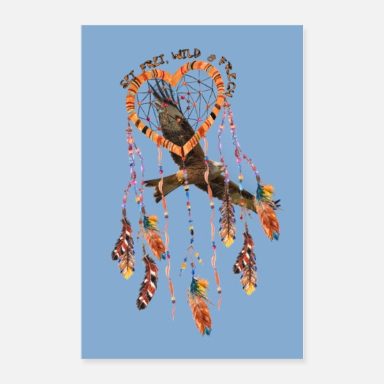 Feather Posters - Poster Hawk heart feathers text - Posters white