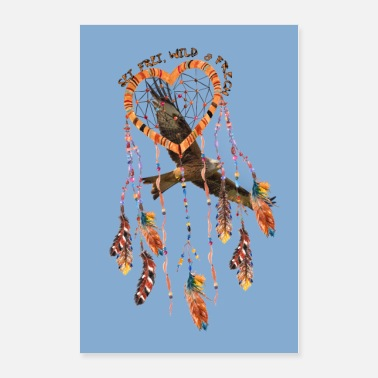 Frech Poster texte plumes coeur Hawk - Poster