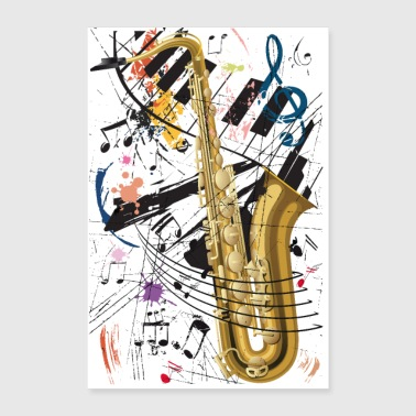Sax & Piano - Poster - Poster 60 x 90 cm