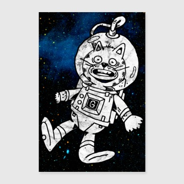 Space cat funny poster Astronaut - Poster 24 x 35 (60x90 cm)