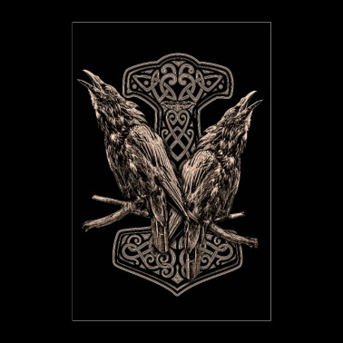 HUGIN AND MUNIN AND A THORHAMMER - Poster 24 x 35 (60x90 cm)