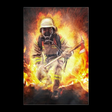 Firefighters - heroes walking through the fire Poster - Poster 24 x 35 (60x90 cm)
