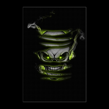 Skull with smoke poster green - Poster 24 x 35 (60x90 cm)