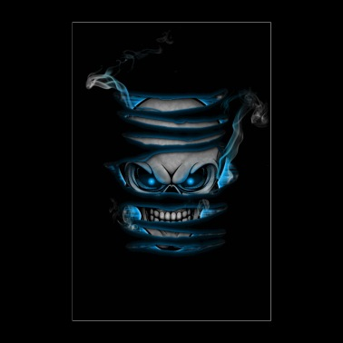 Skull with smoke poster blue - Poster 24 x 35 (60x90 cm)