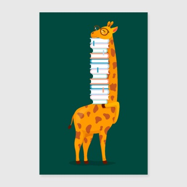 Giraffe With Books - Poster 24 x 35 (60x90 cm)