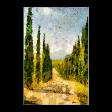 Rural landscape with cypresses - Poster 24 x 35 (60x90 cm)