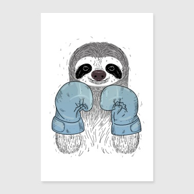 Sloth Boxing - Gants de boxe - Poster 60 x 90 cm