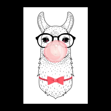 Alpaca With glasses, bow tie and bubble gum - Poster 24 x 35 (60x90 cm)