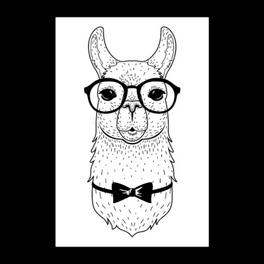 Hipster Alpaca With Glasses And Bow Tie - Poster 24 x 35 (60x90 cm)