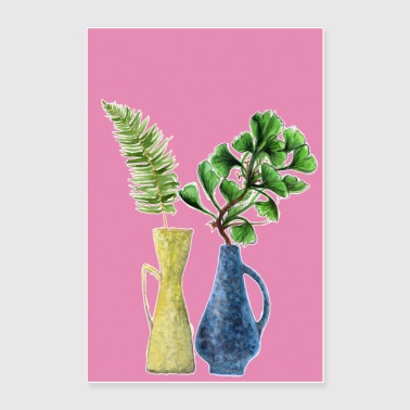 my pink retro home jungle - Poster 24 x 35 (60x90 cm)