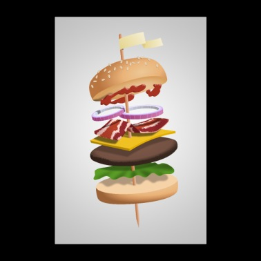 Hovering burger on skewers - Poster 24 x 35 (60x90 cm)