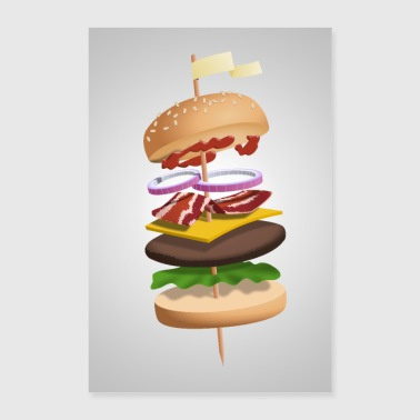 Hamburger in bilico su spiedini - Poster 60x90 cm