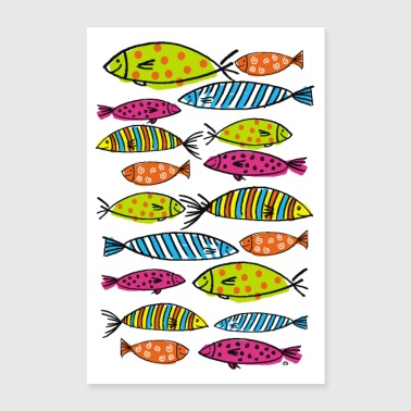 school of colorful fish - Poster 24 x 35 (60x90 cm)