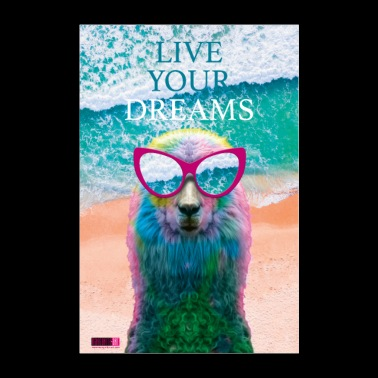 03 Llama LIVE Your Dreams Juliste Margarita Pop Art - Juliste 60x90 cm