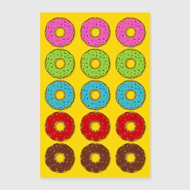 Poster donut donuts colorful cake candy food - Poster 24 x 35 (60x90 cm)