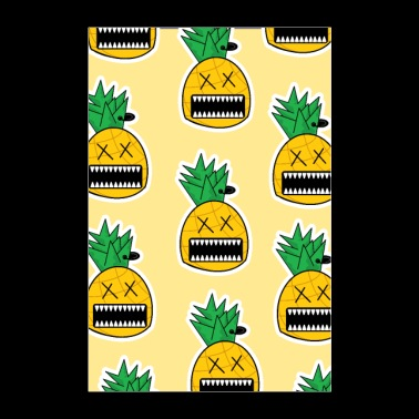 Zombie Pineapple Fruit Monster Emo Piercing Poster - Poster 24 x 35 (60x90 cm)